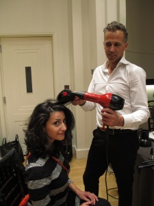 He smoothed and shined Emily's hair, which is always smooth and shiny because she has enviably gorgeous, thick hair!